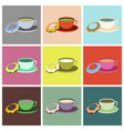 set icons in flat design cup of tea and donat vector image