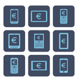 set of icons - mobile devices with euro symbols vector image vector image