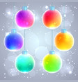 set of six colorful rainbow christmas balls vector image