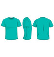 turquoise t-shirt template in front side and back vector image