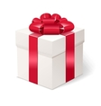 White gift box with bows and red ribbon vector image vector image