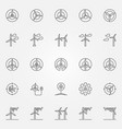 wind turbine icons set vector image vector image