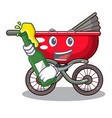 with beer modern baby stroller isolated against vector image