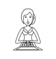 woman with laptop computer vector image vector image