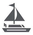 yacht glyph icon transportation and boat vector image vector image