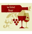 Wine bottle serving a glass silhouettes vector image
