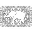 adult coloring book page with elephants silhouette vector image vector image