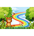 Animals in the park with rainbow background vector image vector image
