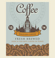 banner with coffee beans and big ben in london vector image vector image