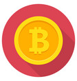 bitcoin flat icon vector image vector image