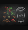 chalk drawn set coffee vector image vector image
