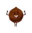 coconut fruit in nutshell isolated funny emoticon vector image
