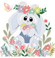 cute big eyes rabbit bunny in the flower bush vector image