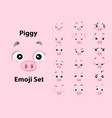 cute pink piggy emoji set vector image