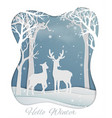 deer couple standing in the forest with snowflakes vector image vector image
