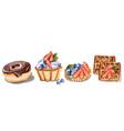 donuts cupcake and waffles invitation card vector image vector image
