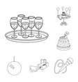 event organisation outline icons in set collection vector image
