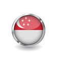 flag of singapore button with metal frame and vector image vector image