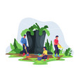 gardener and farmer work in garden vector image vector image