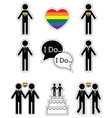 Gay man wedding with rainbow element vector image