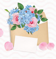 gift envelope with a bouquet roses and phloxes vector image vector image