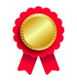 gold medal with red ribbon metallic winner award vector image vector image