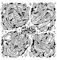 hand drawn doodles cartoon set water vector image vector image