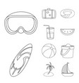 isolated object of equipment and swimming sign vector image vector image