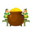 leprechaun girl and pot of gold legendary vector image vector image