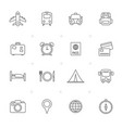 line travel trip and transportation icons vector image