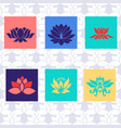 lotus icon of six types isolated sign symbol vector image vector image