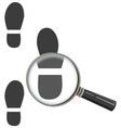 Magnifying glass increases footprint of man vector image