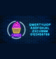 neon glowing sign of cake with cream and cherry vector image vector image