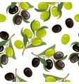 olive branches black green olives seamless vector image