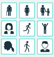 person icons set collection of work man jogging vector image vector image