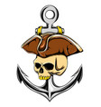 pirates skull on hat top with big vector image vector image