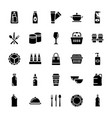 plastic packaging glyph icons set vector image