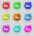 Running shoe icon sign A set of nine original vector image vector image