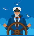 sailor in a cap with pipe at helm ship vector image