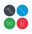 Scalpel pills and drilling tool icons vector image