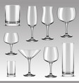 set drinking glass for alcohol beverage water vector image vector image