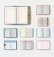 set of open realistic notebooks with pages diary vector image vector image