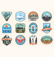 set of snowboarding and rock climbing club patches vector image vector image