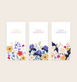 set vertical floral card or banners with place vector image vector image