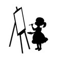 silhouette girl artist paints on canvas vector image vector image