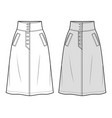 skirt fashion flat sketch template vector image vector image