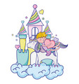 sleeping boy riding unicorn with heat in the vector image vector image