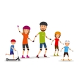 Sports family Mom dad and kids roller skate vector image vector image