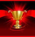 the leader of the cup with a red ribbon vector image vector image