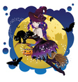 Witch and Full Moon6 vector image vector image